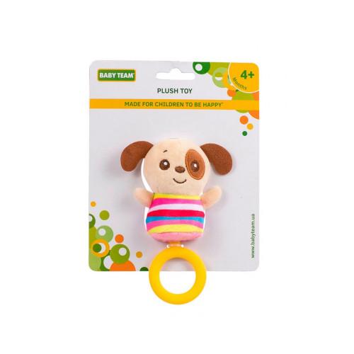 Игрушка мягкая с кольцом-грызунком Baby team, 4+, арт. 8512 (Собачка)