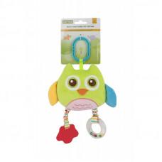 Мягкая многофункциональная игрушка-прорезыватель cова салатовая 8533
