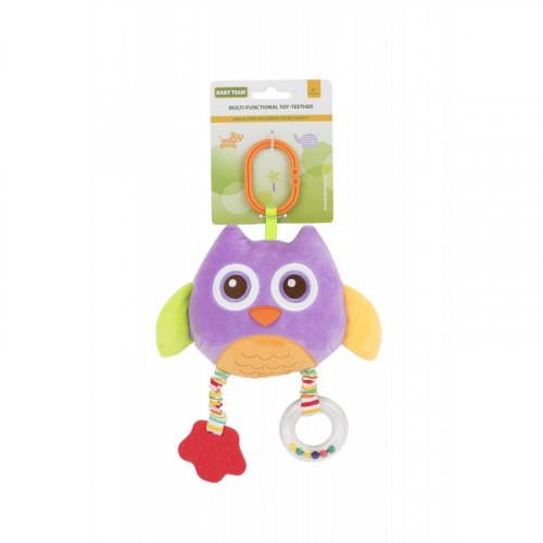 Мягкая многофункциональная игрушка-прорезыватель Сова фиолетовая 8533