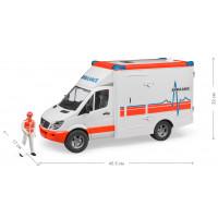 Машинка BRUDER МВ Sprinter скорая помощь + фигурка водителя, М1:16 02536