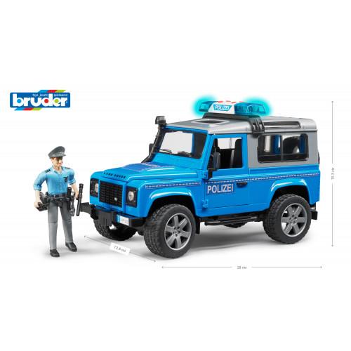 Джип полицейский BRUDER Land Rover Defender и фигурка полицейского синий М1:16 02597