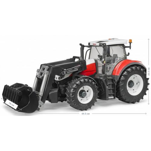 Трактор BRUDER Steyr 6300 Terrus с погрузчиком красно-белый, М1:16 03181