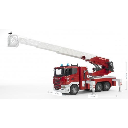 Пожарная машина BRUDER SCANIA R-series с лестницей (водяная помпа + свет+звук) М1:16 03590
