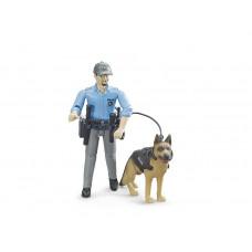 Bruder Игрушка фигурки полицейский с собакой   10,7 см 62150