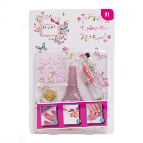 Lukky Дизайн-Сет #1 для дизайна ногтей с лаком 087 5,5 мл. , стик для ногтей, кист, красная  пом с блестками  2 г, T16787