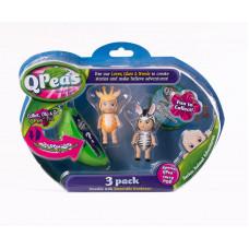 """Фигурки в стручке Qpeas """"Приключения животных"""" QP004 Жирафчик Гиги - зебра (3 фигурки и 1 подвеска)"""