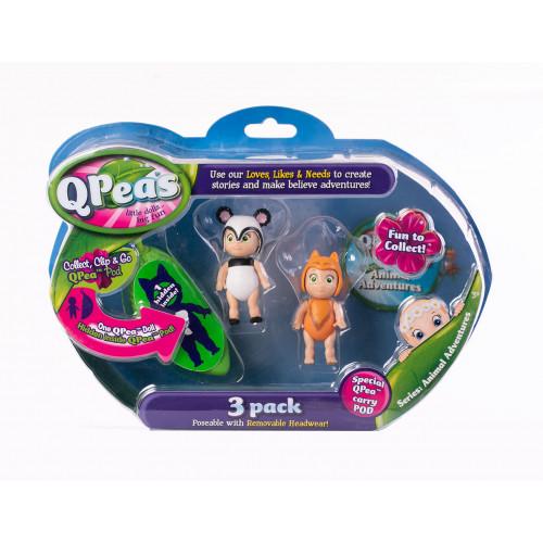 """Фигурки в стручке Qpeas """"Приключения животных"""" QP004 Панда Пепилла- шпиц (3 фигурки и 1 подвеска)"""