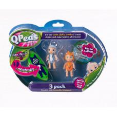 """Фигурки в стручке Qpeas """"Приключения животных"""" QP004 Сахарная белка - Шпиц (3 фигурки и 1 подвеска)"""