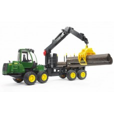 Трактор BRUDER игрушка - с системой захвата John Deere с прицепом и бревнами 02133