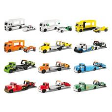 Набор игровой Maisto - грузовой трейлер-транпортёр (13см) + машинка (7,5 см), асс. 6 видов, Блистим 15211